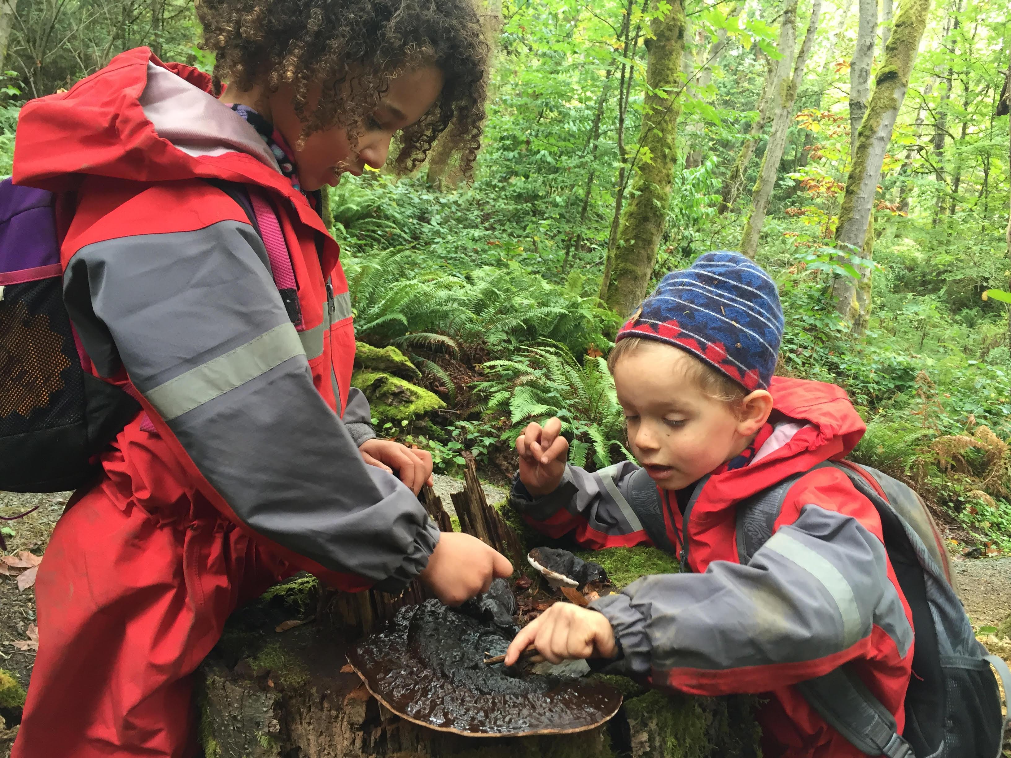 west seattle outdoor preschoolers exploring fungus